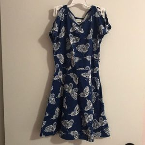 Blue with white butterfly dress